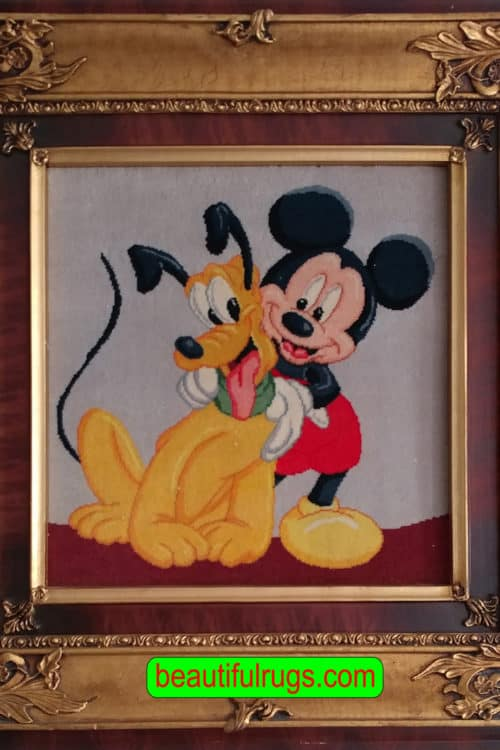 Wall-Hanging Rug, Tom And Jerry Rug, Handmade Persian Pictorial Rug, size 1.4x1.4