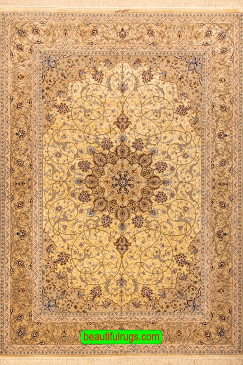 Handmade Isfahan Silk Rug, Eslimi Design Rug with Gold and Taupe Color, size 8.6x12.2, main image