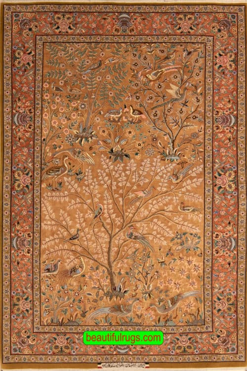 Hand Knotted Persian Isfahan Silk Rug, Silk Tree of Life Rug, Gold & Copper Color Rug, size 4.10x7.2, main image