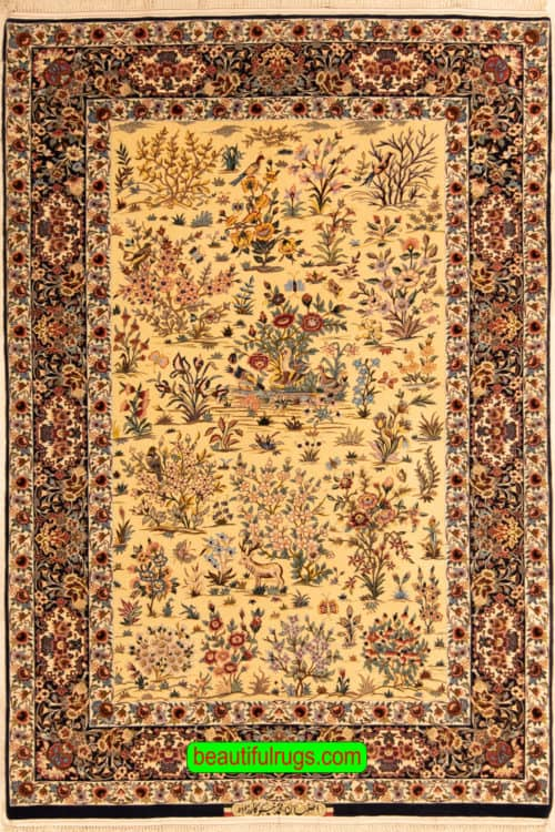 Hand Woven Persian Isfahan Kurk Rug, Floral Pattern with Birds & Animals, size 5.4x7.10, main image