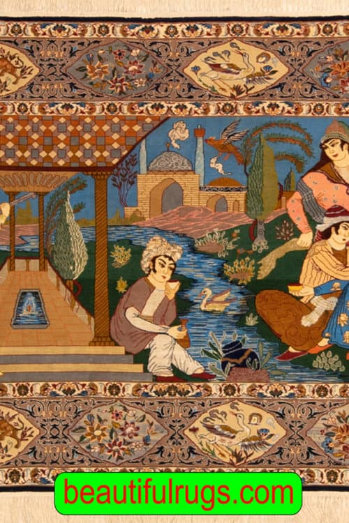 Handmade Pictorial Rug, Vertical Pictorial Persian Isfahan Rug, size, 6x3.10, main image