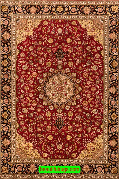 Red Color Handmade Wool and Silk Rug, Traditional Persian Tabriz Rug, size 8.3x11.8, main image