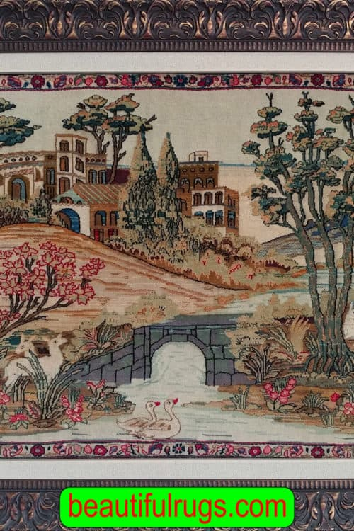 Wall-Hanging Rug, Antique Persian Kashan Scenery Wall-Hanging Rug, size 3.4x2.3