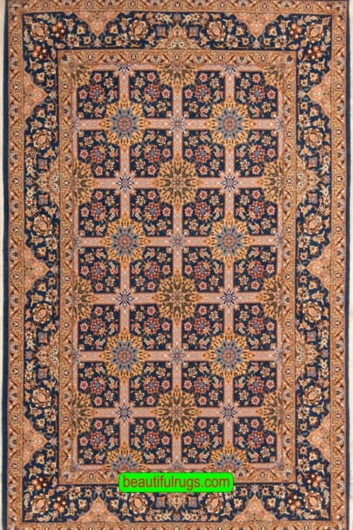 Handmade Persian Isfahan Rug, Blue Color Allover Design Isfahan Rug, size 4.5x6.7, main image