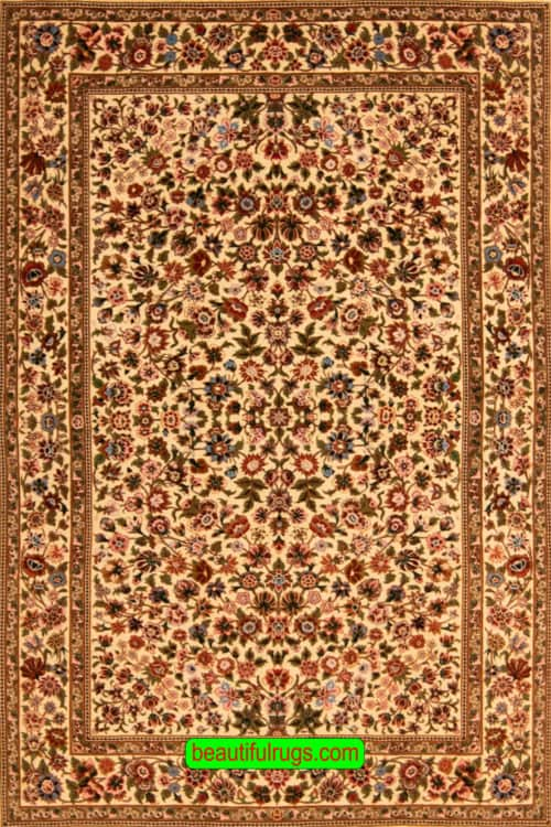 Hand Knotted Persian Qum Rug, Kurk Wool and Silk Rug on Silk Foundation, Allover Design Rug, Size 3.7x5.7, main image