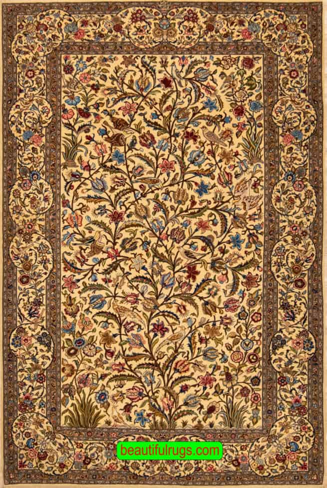 Vintage Persian Kashan Rug, Hand Woven Tree of Life Rug with Birds, zise 4.7x7.3, main image