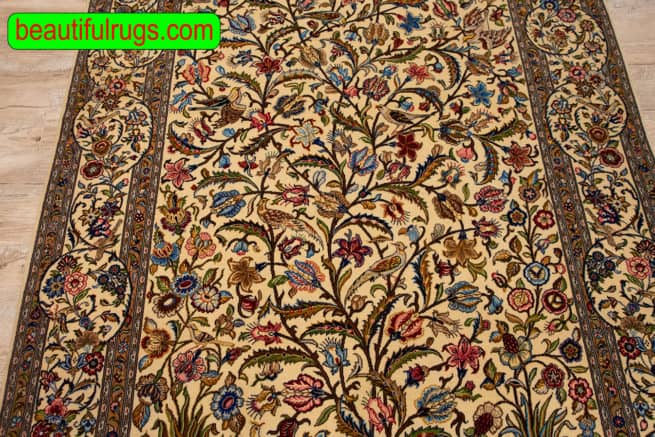 Vintage Persian Kashan Rug, Hand Woven Tree of Life Rug with Birds, zise 4.7x7.3, close up image