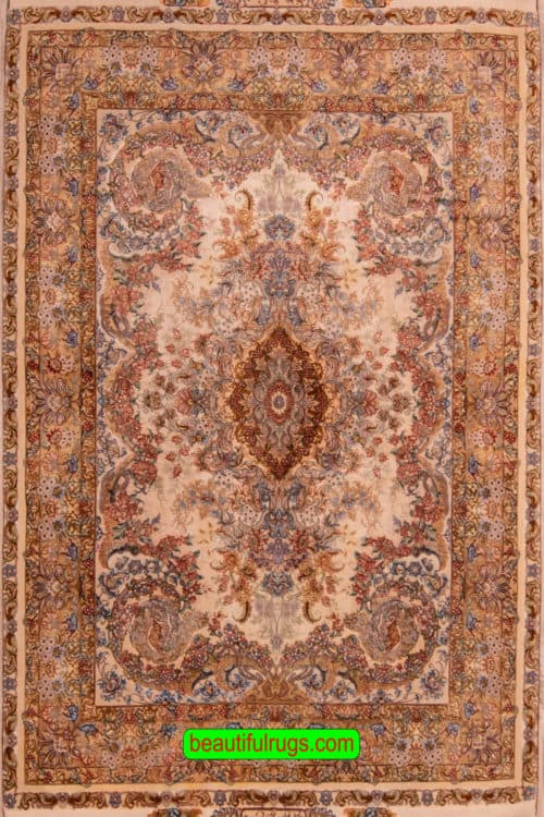 Hand Woven Persian Tabriz Silk Rug with Brown, Beige and Gold Colors, size 4.10x7.3, main image