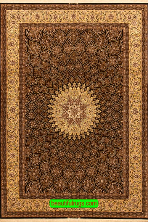 Hand Woven Persian Isfahan Rug, Dom Design Rug, Full Gonbad Design, size 8.3x11.8, main image