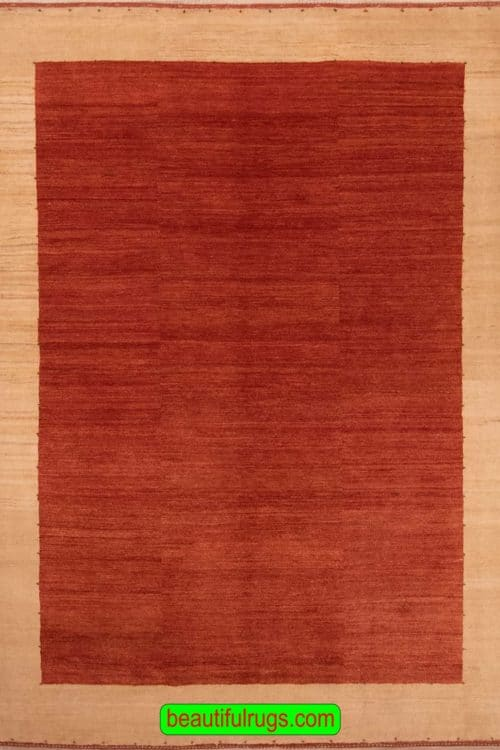 Handmade Contemporary Rug, Red & Beige Color Persian Gabbeh Rug, size 6x7.7, main image