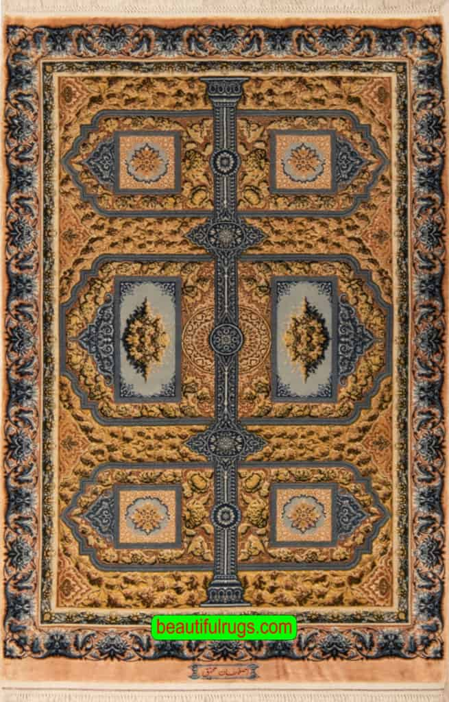 Hand Knotted Vegetable Dyed Rug, Persian Isfahan Silk Rug, Mahmood Mohaghegh Rug, size 3.3x5, main image