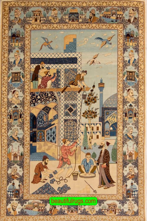 Handmade Isfahan Pictorial Rug, A Collectible Antique Persian Isfahan Rug, size 5x7.7, main image