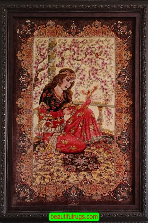 Pure Silk Wall Hanging Rug, Hand Knotted Persian Qum Silk Portrait Rug, rug size 2.7x4