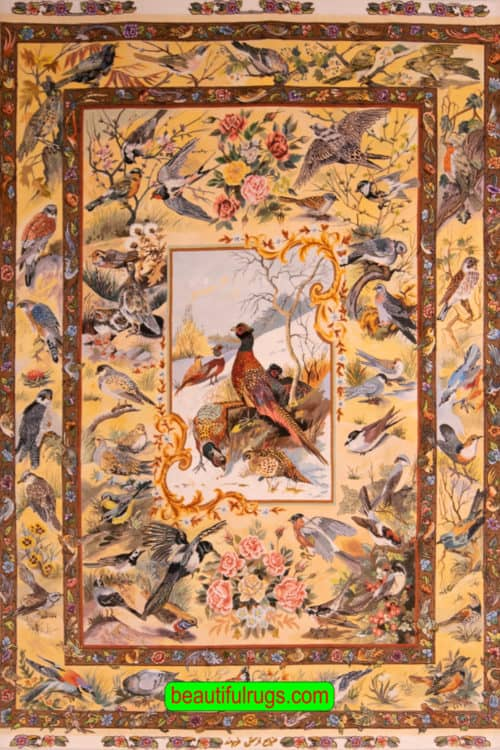 Hand Knotted Persian Tabriz rug, Bevy of Birds Rug, Scenery Rug, Artwork of Iran Rugs, Festival of Birds, size 5x7, main image