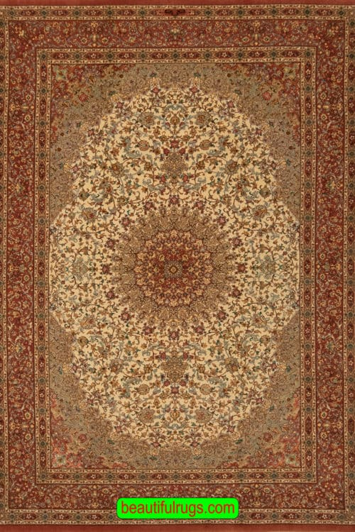 5x8 Rug, Hand Knotted Persian Qum Rug, Mauve Color Kurk and Silk Rug, size 5.3x7.10, main image