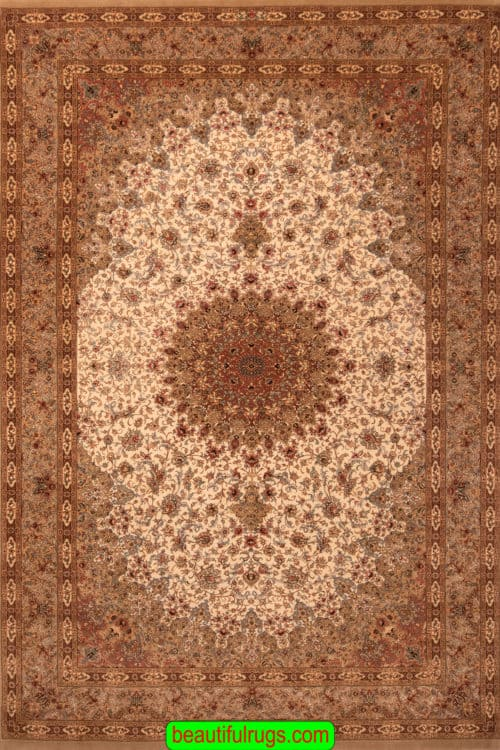 Wool and Silk Rug, Hand Knotted Persian Qum Wool and Silk Rug, size 6.9x10.8, main image