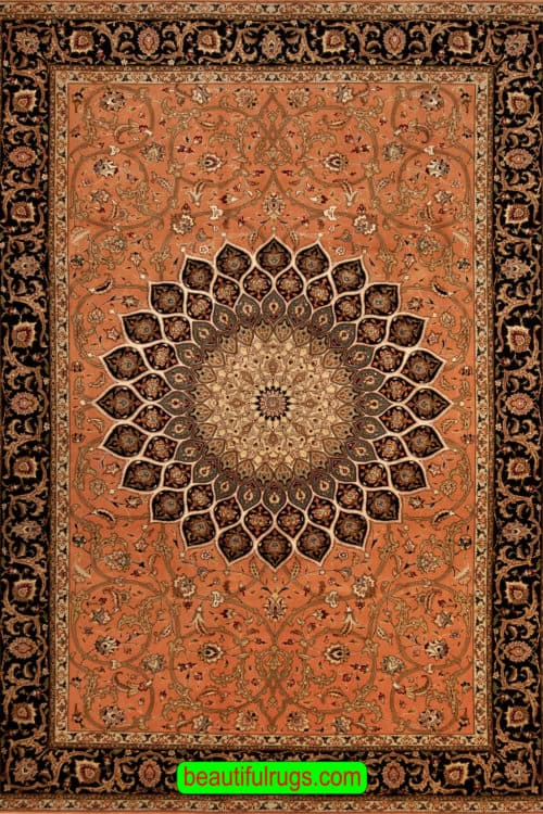 Handmade 6x9 Rug, Persian Tabriz Gonbadi Rug with Salmon Color, main image