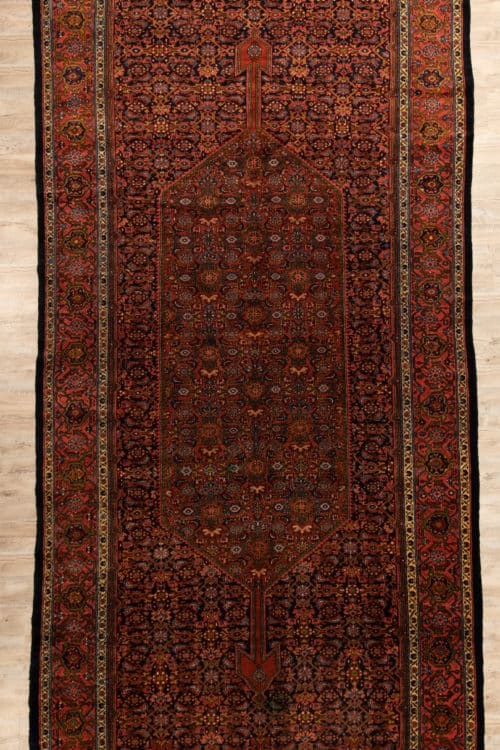 Antique Persian Farahan Rug, Odd Size Rug with Black and Rust Color, size 7x17.6, main image