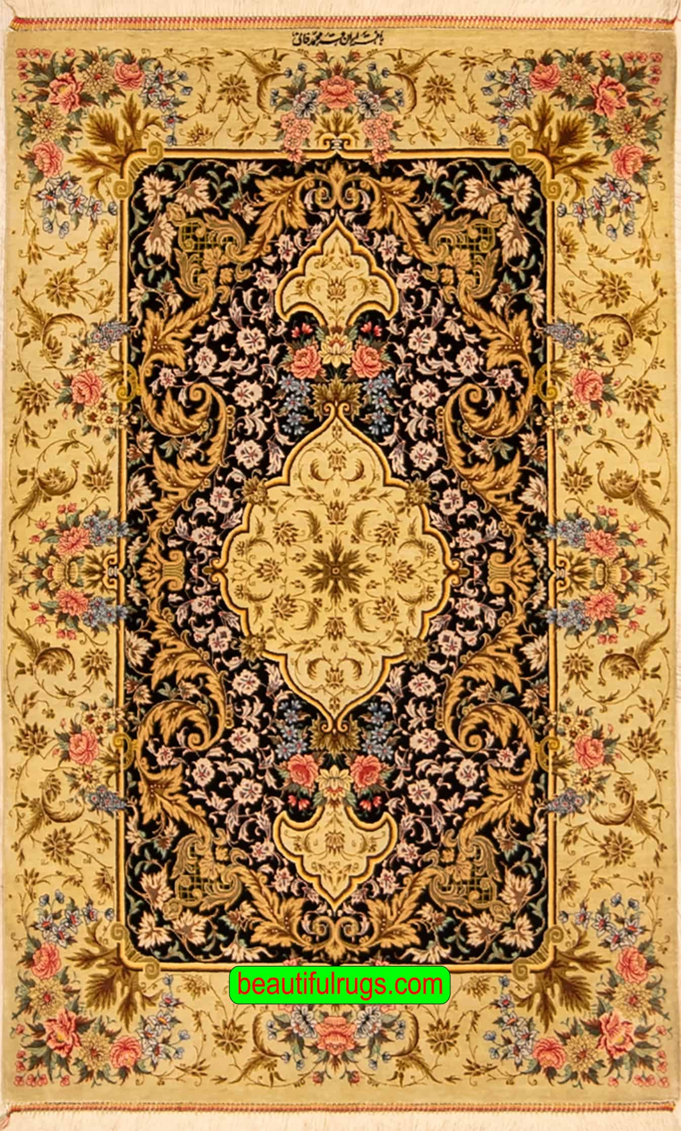 Hand Knotted Rug Persian Qum Silk