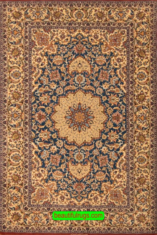 Lachak Toranj Rug, Blue Color Vegetable Dyed Persian Isfahan Rug, size 5x7.2, main image