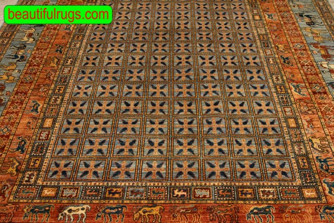 8x10 Handmade Wool Rug, Pazirik Design Rug with Rust and Grey Color, close up image