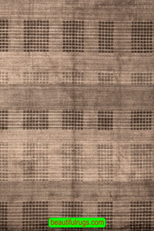 8x10 Rug, Hand Loomed Contemporary Grey Color Rug, Living Room Rug, size 8.3x10, close up image