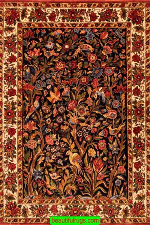 Hand Knotted Persian Bakhtiari Rug, Vegetable Dyed Tree of Life Rug, size 5.9x8, main image