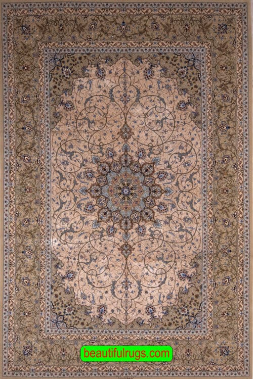 Hand Knotted Persian Isfahan Silk Rug, Eslimi Design Rug, Champagne Color Field, size 6.7x10.5, main image
