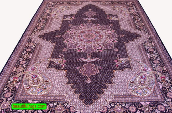 Black Color Rug, Persian wool and silk Rug, size 6.10x10, close up image
