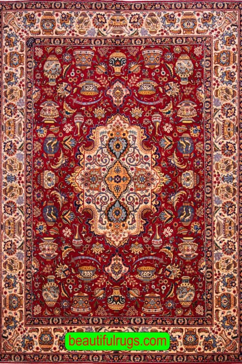 Old Persian Rug, 8×11 Rug, Red Color Persian Tabriz Rug, main image, size 8.2 x 11.2