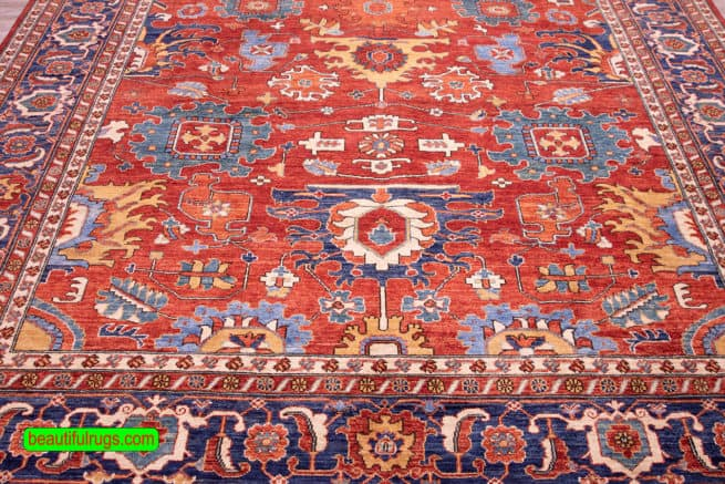 8×11 Rug, Orange Red and Blue Color Oriental Oriental Rug, close up image. size 8.6x11.2