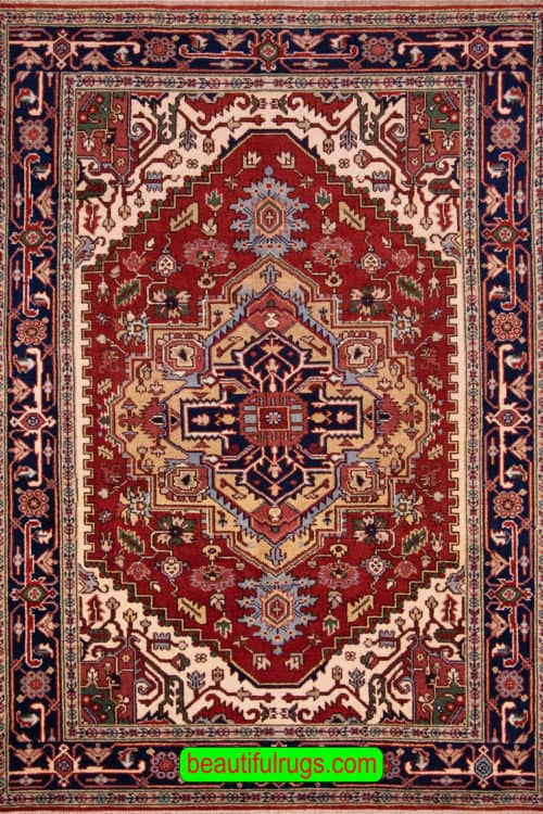 Hand Knotted Wool Rug, Serapi Design Indian Rug, size 6x8.10, main image