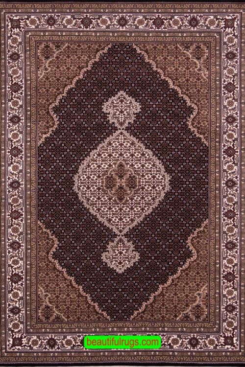 Black Color Indian Rug, Traditional Oriental Rug, size 5.10x9, main image